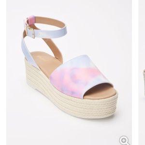 Pink Tie Dye Platform Espadrille Sandals
